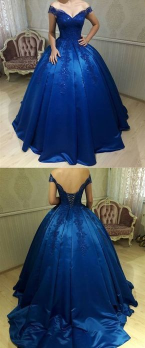 Royal Blue Satin Ball Gowns Quinceanera Dresses V Neck Off-the-shoulder
