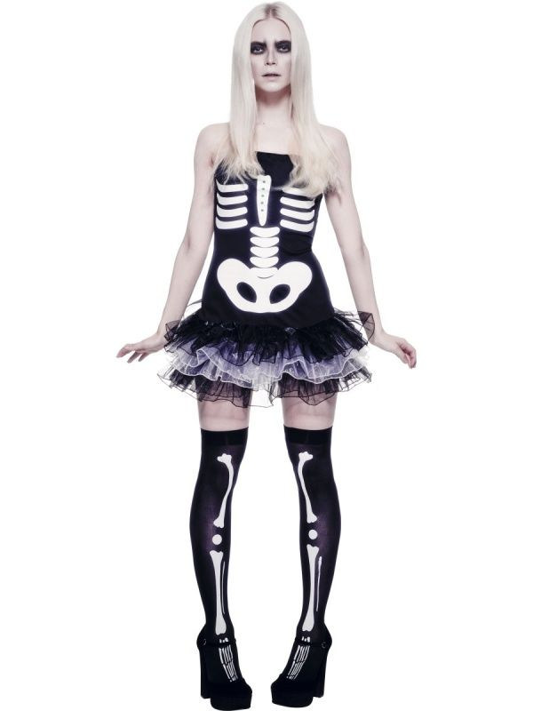 Strój seksownej szkieletorki przyciągający wzrok i strasznie kuszący. Doskonałe przebranie na Halloween jak i bal karnawałowy.