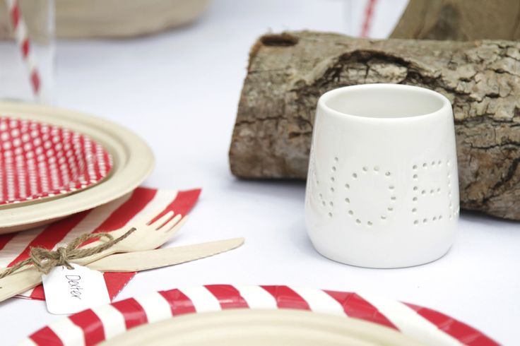 Noel tealight holders on the Christmas table, super cute! | The Paper Lantern |