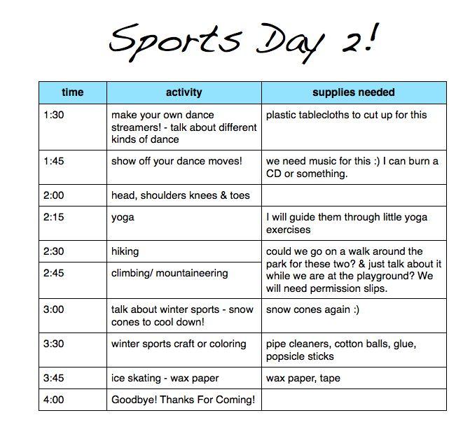 Sports camp proposal