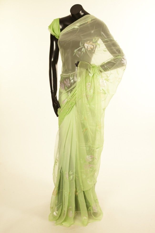 chiffon art silk lime green light lime green saree with blouse