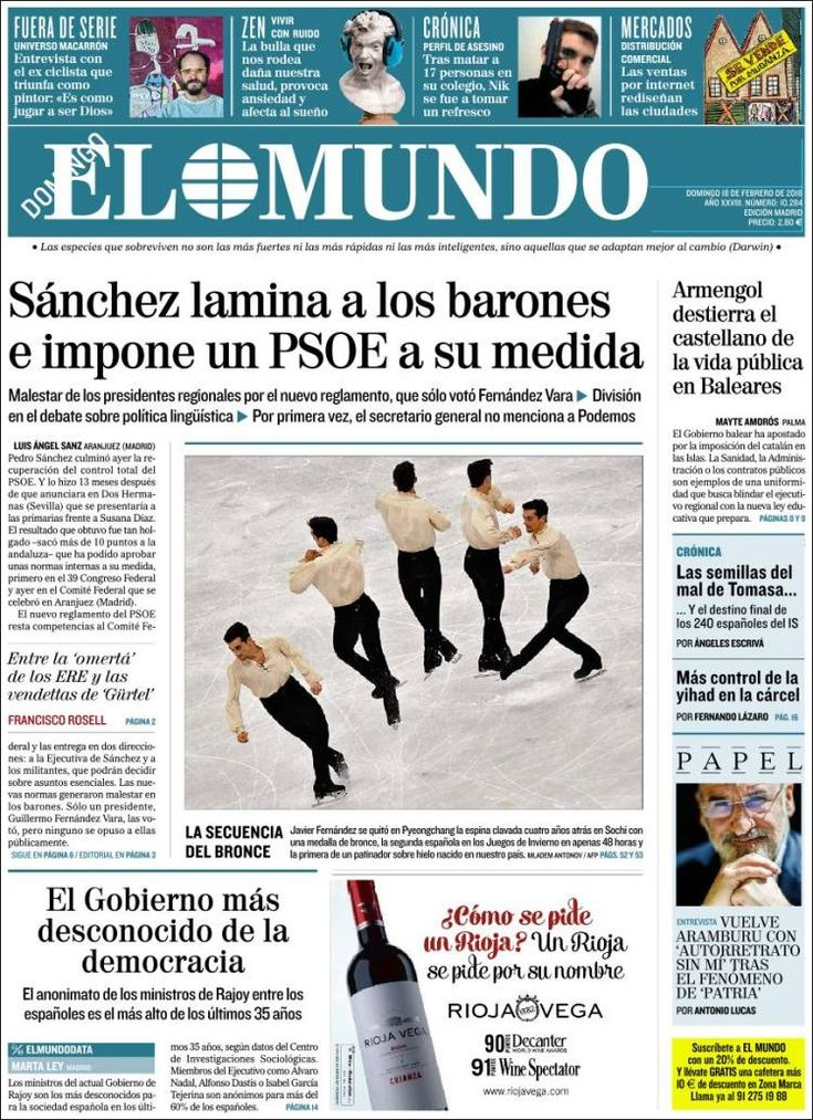 2018-02-18 Periódico El Mundo (España). Periódicos de España. Toda la prensa de hoy. Kiosko.net