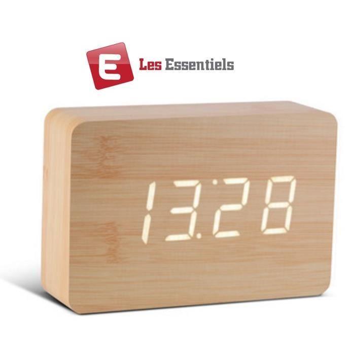 Radio réveil ESS® Réveil en bois design horloge