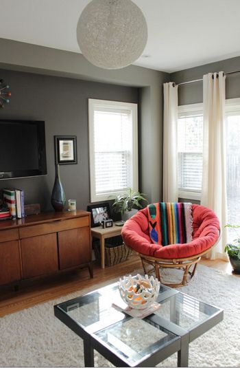 gray living room with red papasan chair (Benjamin Moore, Silver Streak)