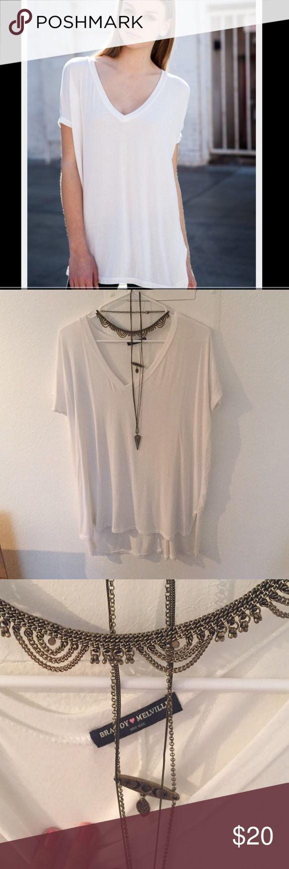 Brandy Melville Milan Top All white Milan Top by Brandy Melville! Only worn once! In great condition aside from a slight piling and a little stain by the neck that's not noticeable at all when wearing! Reflected in the price Brandy Melville Tops Tees - Short Sleeve