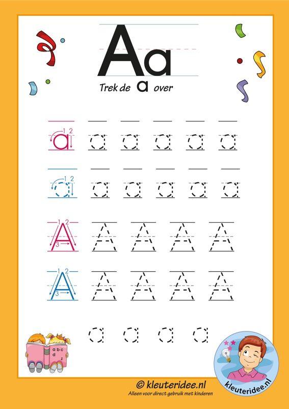 Pakket over de letter a blad 7, trek de letter a over, letters aanbieden aan kleuters, kleuteridee.nl, free printable.