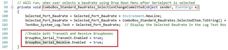 enabling Serial Port Transmit and Serial Port Receive Groupboxes in C#.Visit http://www.xanthium.in/building-opensource-gui-based-serial-port-communication-program-dot-net-framework-and-arduino to know more