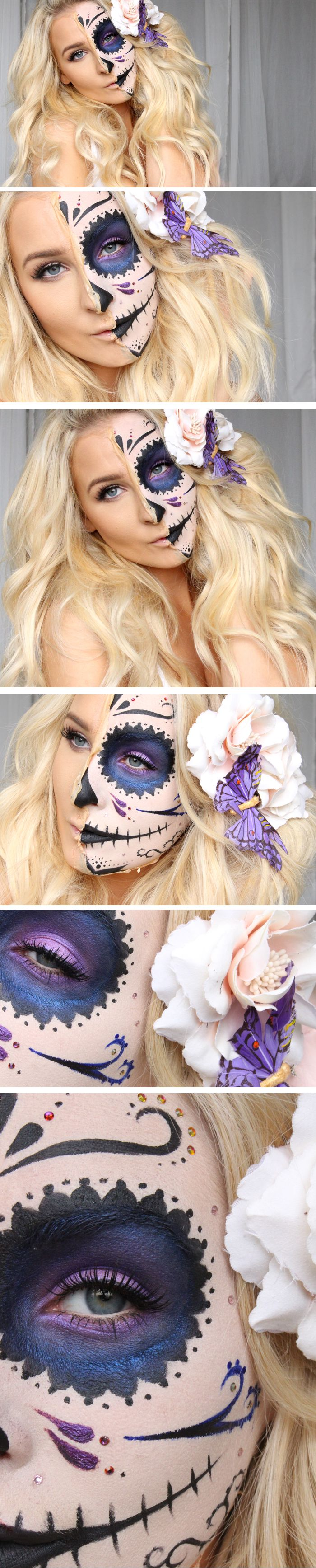 "HALLOWEEN TUTORIAL - HALF SUGAR SKULL ""under my skin"" MAKEUP"