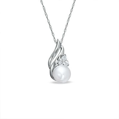 6.0mm Cultured Freshwater Pearl and Lab-Created White Sapphire Pendant in 10K White Gold - Zales