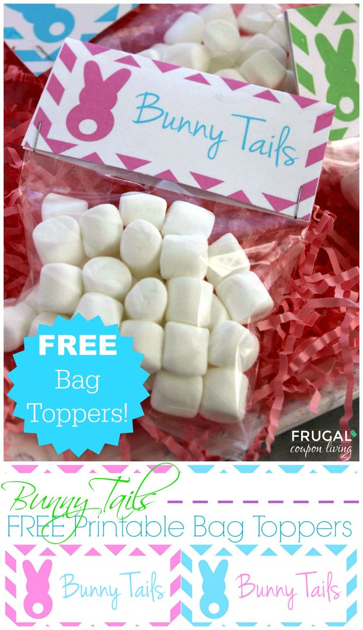 FREE Bunny Tails Bag Topper Printable on Frugal Coupon Living - Kids Easter Craft for the Spring Season. Use Marshmallows as edible bunny tails.