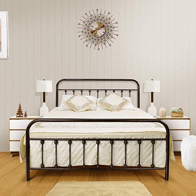 Queen Platform Metal Bed Frame, Queen Metal Bed Frame With Headboard No Footboard