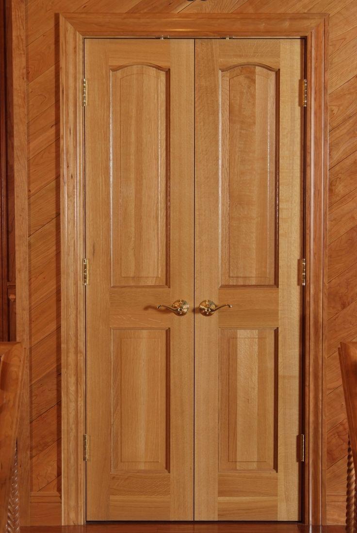 Quarter Sawn White Oak Classique Style Double Door Closet Unit With 3 Cherry  Casing.