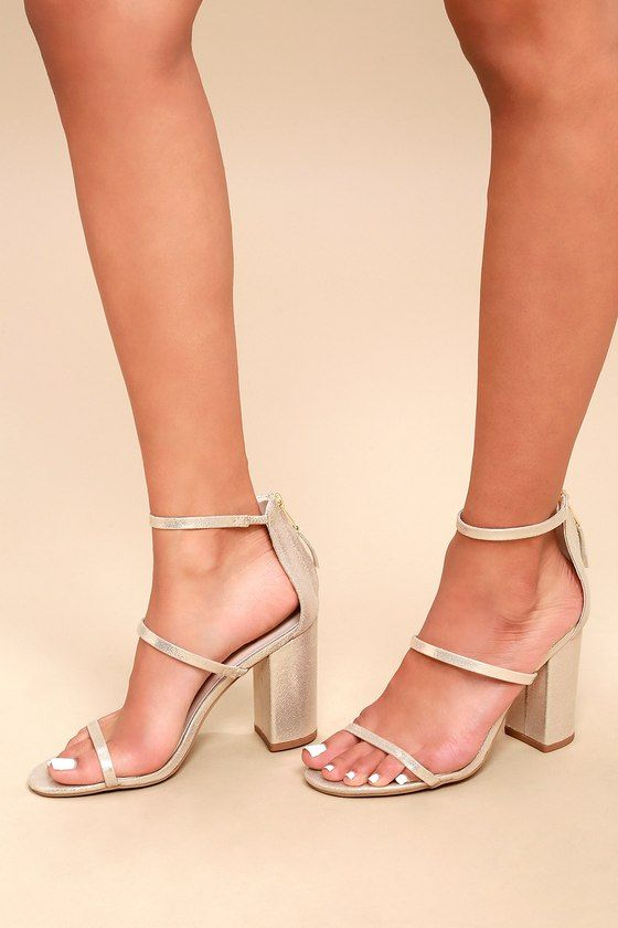 791ba2f07dd Candice Champagne Metallic Ankle Strap Heels in 2019 | Shoes | Ankle ...