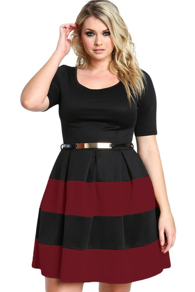 Robes Grandes Tailles Patineuses Rouge Noir a Rayures Ceinture Pas Cher www.modebuy.com @Modebuy #Modebuy #Rouge #Noir #robes