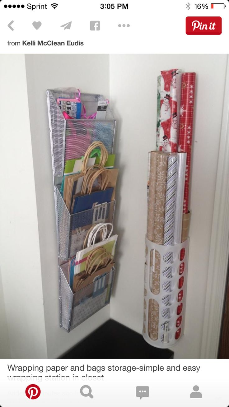 Wrapping paper and bags storage-simple and easy wrapping station in closet.  Wrapping paper holder is actually a plastic bag storage bin from IKEA