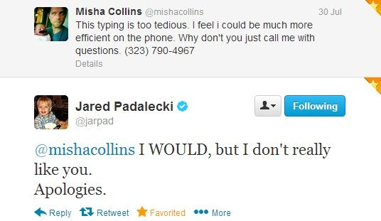 Misha Collins and Jared Padalecki on Twitter