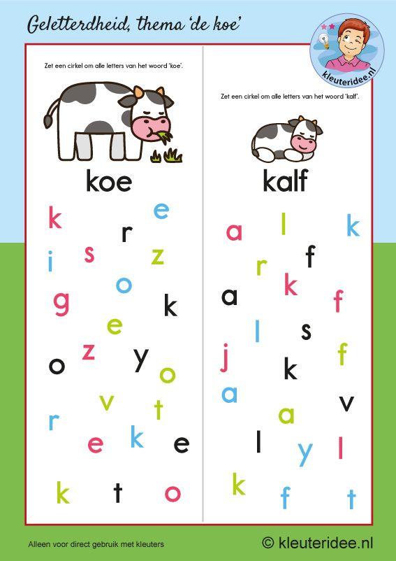Zoek de letters van koe en kalf, kleuteridee, free printable, thema koe, taal voor kleuters.