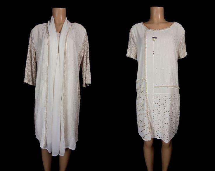 DANIELA DALLA VALLE ELISA CAVALETTI Eyelet Dress Set L/XL Beige Fringe Suit #DanielaDallaValleElisaCavaletti #2Piece