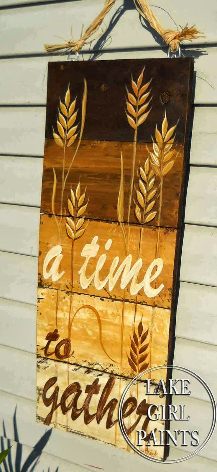 Lake Girl Paints: Handpainted Fall Wheat Door Hanging
