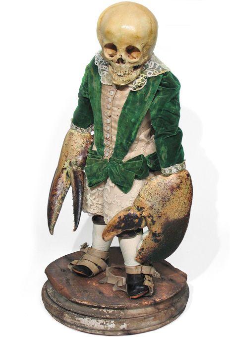 M. F. Follard by Scott D Wilson, mixed media, human skull, taxidermy, victorian dress and prosthetics, 2011