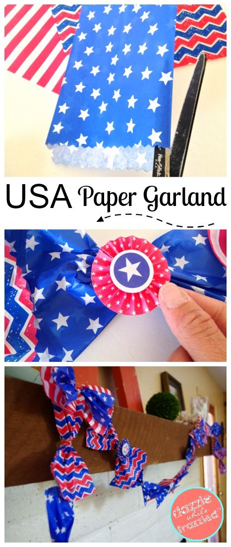 How to make an easy DIY patriotic garland to celebrate the Red, White and Blue using paper goodie bags and USA themed pinwheel scrapbook stickers. #summervibes #4thofjuly #patriotic #july4th