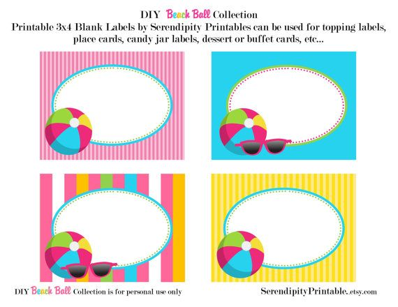 Instant Download: Beach Ball Pool Printable Food Labels -Digital File on Etsy, $6.50