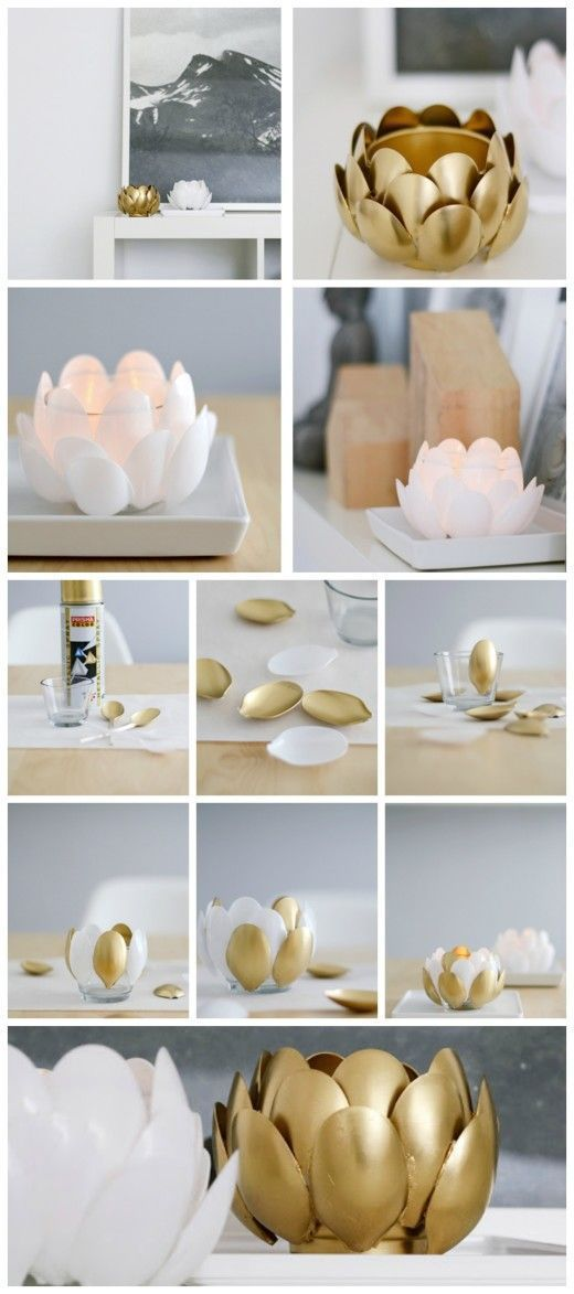 DIY Water Lilies: Plastic Spoon Candle Holder.