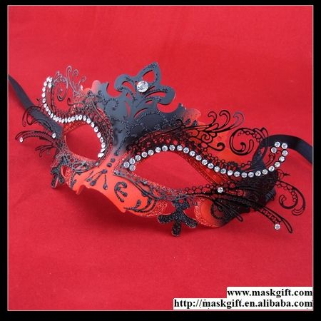 D009 Venetian Mask, Red And Black Masquerade mask, Luxury Party Mask, Wholesale Laser Cut Metal Lace Mask