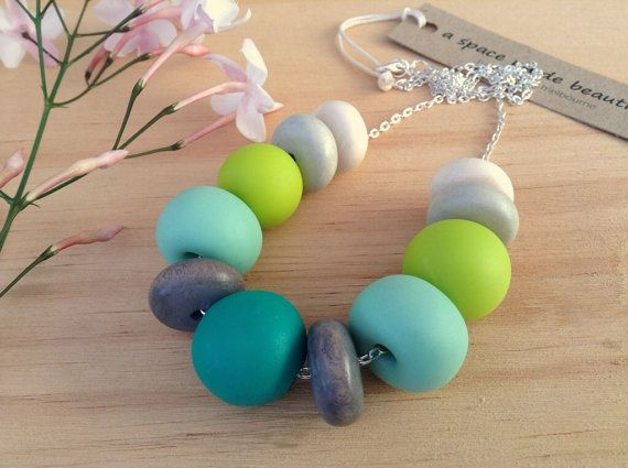 Handmade clay bead necklace by ASpaceMadeBeautiful on Etsy, $44.00