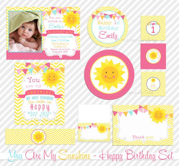 You are my sunshine birthday party invitation package for 1st birthday decoration packages