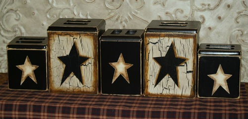 Country Farm House, Vintage Primitive Star Block Style Canister Set (Large Set) | eBay