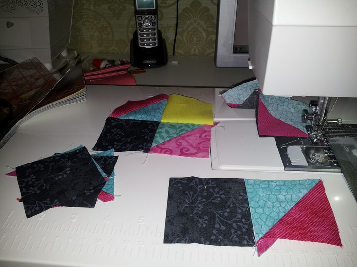 Bonnie Hunters Mystery:  my process with the first unit was to complete one block completely and then used it as my guide as I chained pieced and completed the rest in batches.
