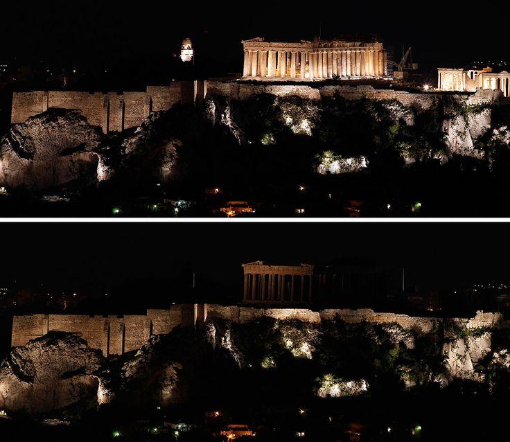 La Acrópolis, en Atenas, Grecia. Apagón mundial en la Hora del Planeta.