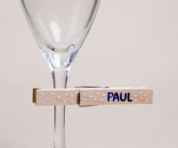 25 Eco Wedding Place Card, Rustical Wedding Decoration, Clothespins, Wooden Pins, Seating Place, Custom Names
