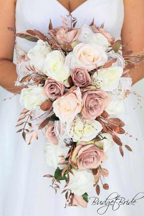 Rose gold Wedding Flowers dusty rose blush pink roses cascading tear drop