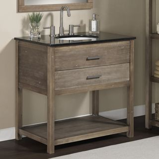 Elements 36-inch Granite Top Single Sink Bathroom Vanity. Cute for a bathroom, that's not a master.