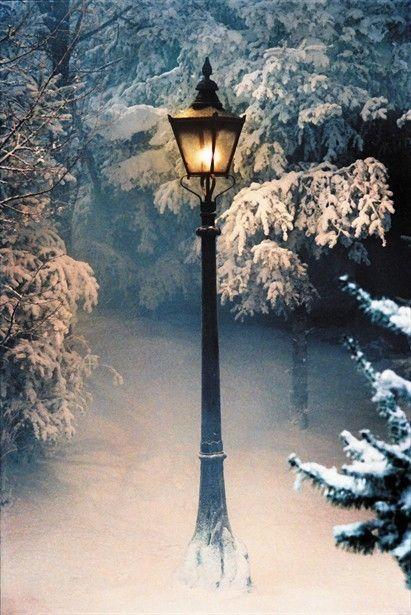 Lamppost on a snowy night