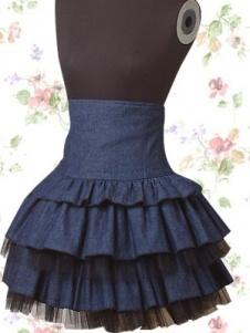 Denim Mutli Ruffles High Waist Lolita Skirt $125