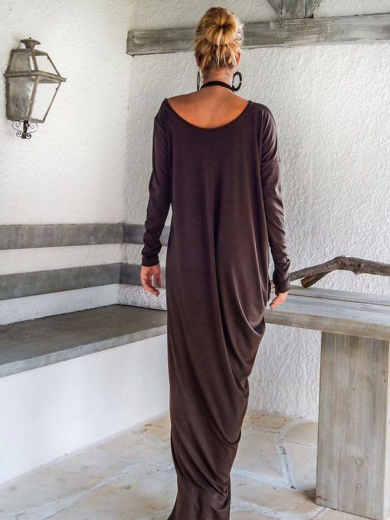 Maxi manica lunga vestito di marrone / Brown Kaftan /