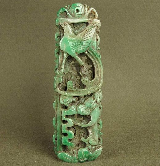 Chinese Apple Green Jade Phoenix Pendant, Kangxi Period 康熙玉