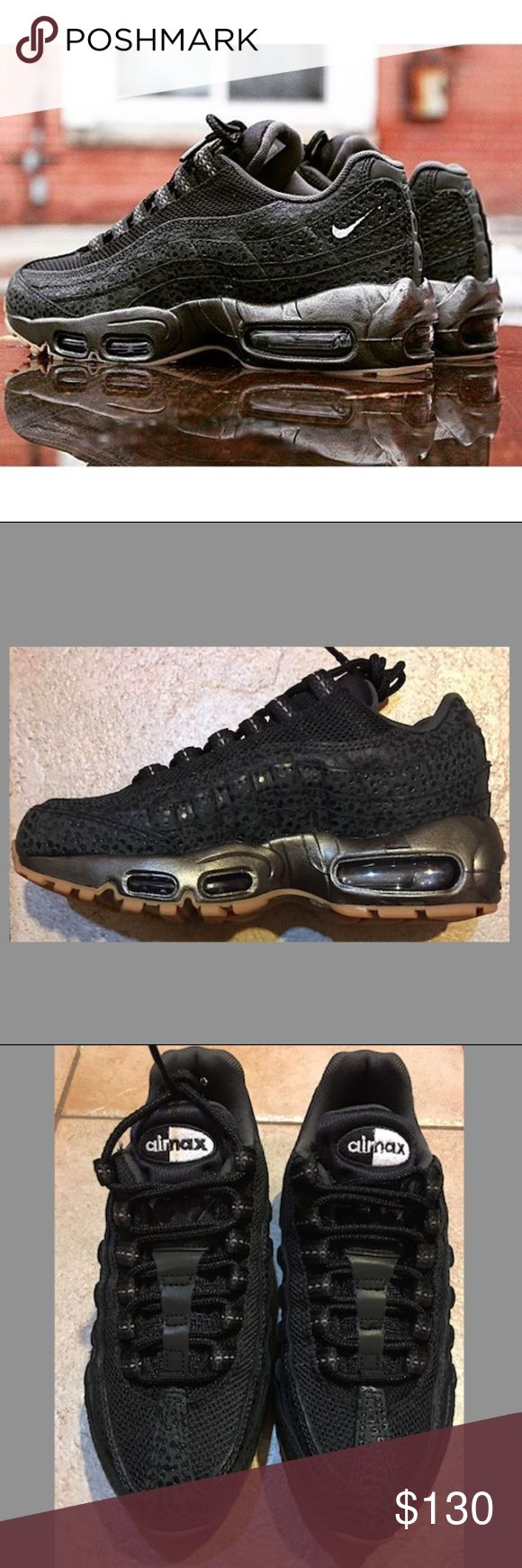 Womens Nike Air Max 95 Premium A staple shoe from a staple collection. The air max 95 is the premier shoe for the Air Max Line...The black/anthracite  upper combined with a gum bottom is a sure hit.  Brand New in Box 100% Authentic shoe is in excellent condition New/Never Worn Box is worn and has some damage to it due to product movement Nike Shoes Athletic Shoes