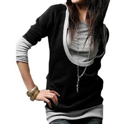 Lady Drawstring String Hooded Long Sleeve Shirt Black Gray XS