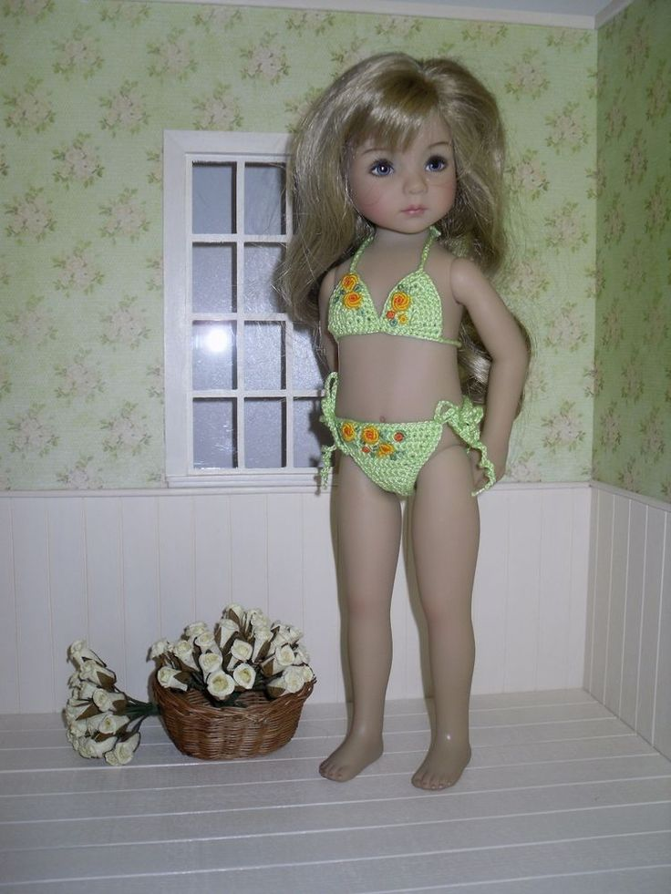 Dianna Effner Little Darling  crochet bikini/swimsuit embroidered with roses  | eBay