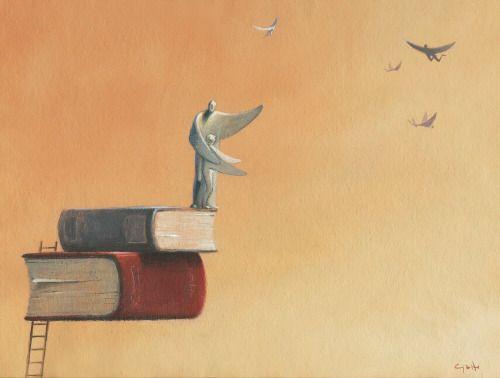 Leyendo: un salto al conocimiento, un vuelo con la imaginación (ilustración de Alessandro Gatto)
