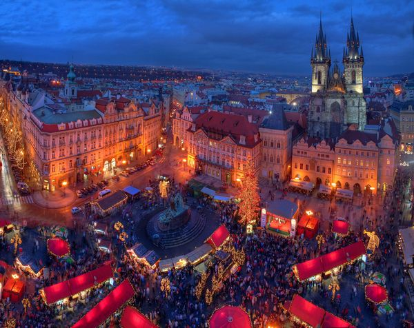 Christmas market, Old Town Square in Prague.