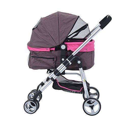 Pawhut Four Wheel Cat/ Dog Pet Stroller - Violet >>> Click on the image for additional details. #CatCarriersStrollers