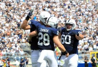 Zack Zwinak gets his seventh rushing touchdown of the season and his second today to help Penn State to a 21-0 lead late in the 3rd quarter....
