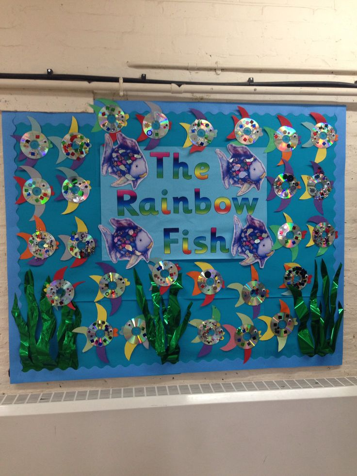 Our rainbow fish display. Made with cd's.