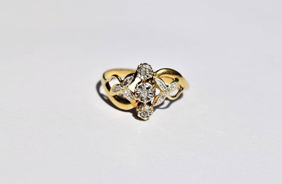 French Antique Trilogy Diamond Ring Vintage Third Anniversary