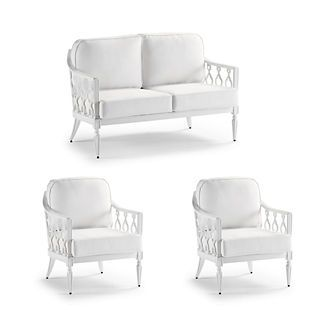 Avery 3-Pc. Loveseat Set In White – Rumor Snow With Logic Bone Piping, Rumor Snow With Logic Bone Piping – Frontgate   – Products